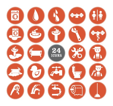 plumbing supply: Red Bathroom Icons Set illustration Stock Photo