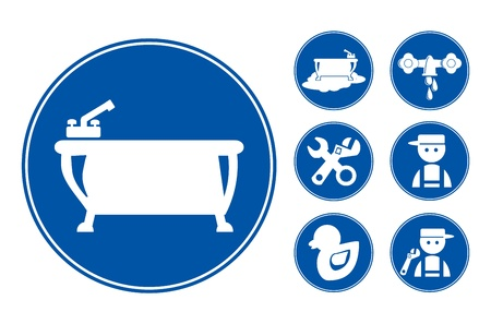 Blue Bathroom Icons Set,  illustration illustration