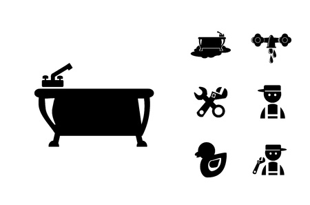 Black Bathroom Icons Set, illustration Stock Illustration - 21158989