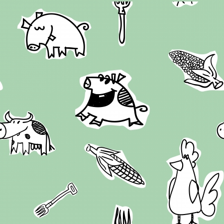 grunter: Seamless pattern, cows, hens, pigs - illustration Stock Photo