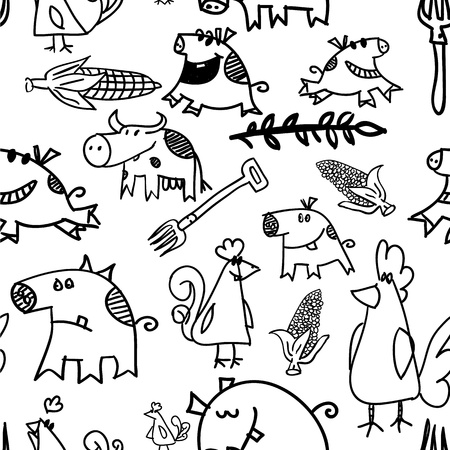 Seamless pattern, cows, hens, pigs -  illustration illustration