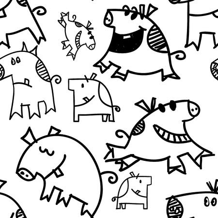 grunter: Seamless Pattern, pigs and piggys, illustration Stock Photo