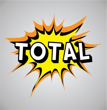 total: Comic book explosion bubble, vector illustration, total