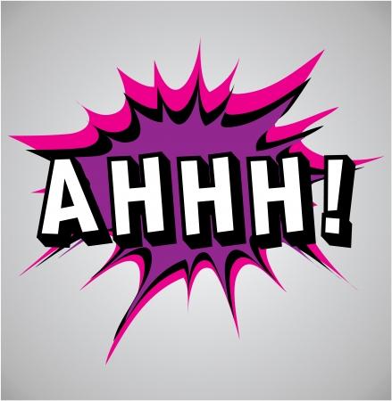 ah: Comic book explosion bubble, vector illustration, ahhh