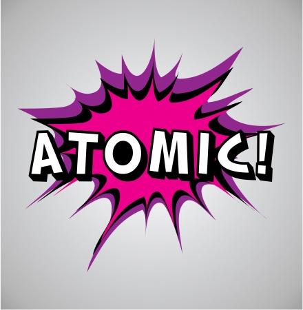 atomic explosion: Comic book explosion bubble, vector illustration, atomic