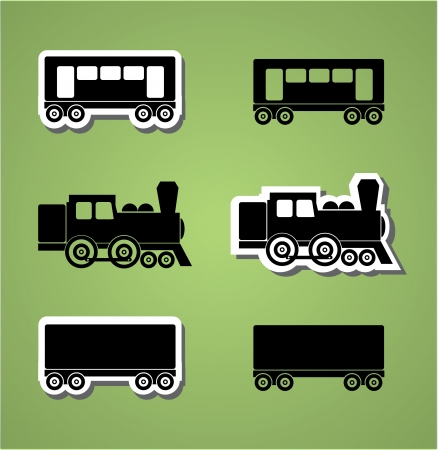 steam locomotive: Train and wagon silhouets, black and white, vector illustration
