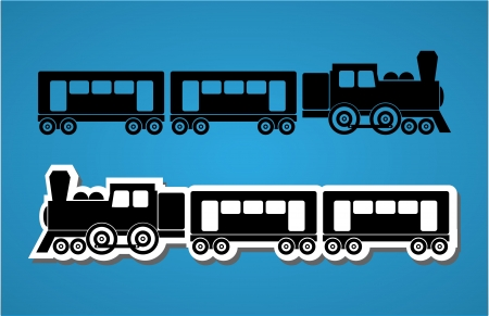 cargo train: Train and wagon silhouets, black and white, vector illustration