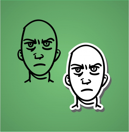 A variety of hand-drawn male faces - anger