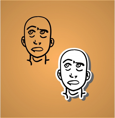 diffident: A variety of hand-drawn male faces - sceptical