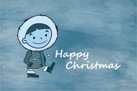 Winter boy. Funny cartoon character and vector illustration Stock Photo