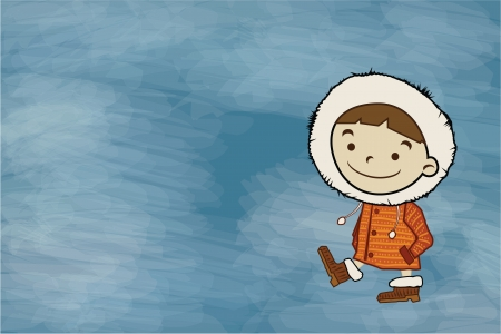 Winter boy, copy space. Funny cartoon character and vector illustration Stock Photo