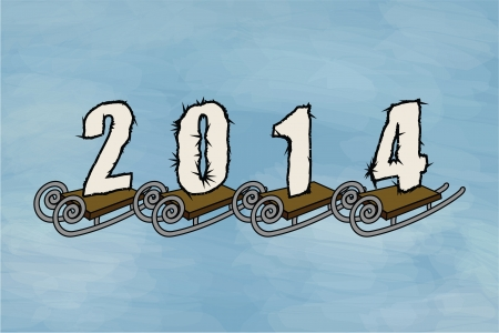 Winter 2014, sled. Funny cartoon and vector illustration