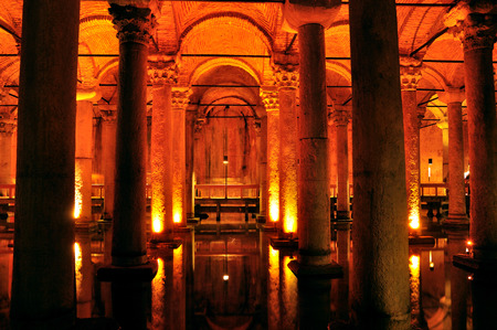 Inside of Basilica Cistern underground water reservoir build by Emperor Justinianus in 6th century, Istanbul, Turkey