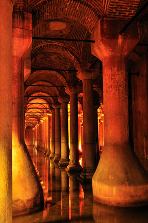 cistern: Inside of Basilica Cistern underground water reservoir build by Emperor Justinianus in 6th century, Istanbul, Turkey