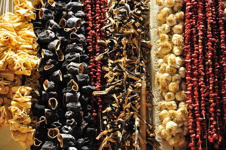 Group of dry fruits beem hanf and left to dry Stock Photo