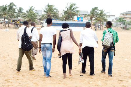 Group of friends left the beach.