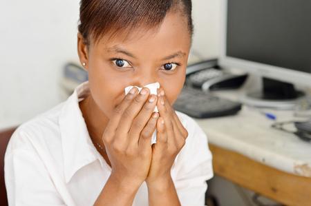 nostrils: young woman blocking the nostrils.