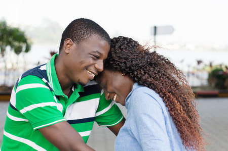 communicates: happy young couple embracing, perfectly Communicates