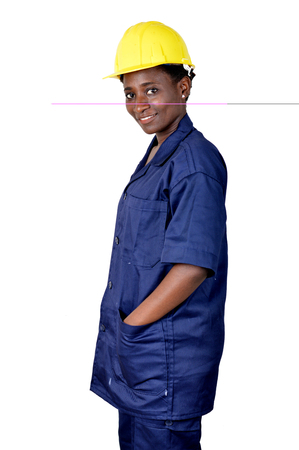 Portrait of young worker in his work suit isolated on a white background Banque d'images - 111828793