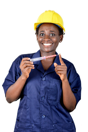 Smiling young woman showing her work tool. Banque d'images - 111828794