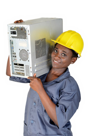 Young woman in computer maintenance loads a computer CPU on the shoulder Banque d'images - 111828833