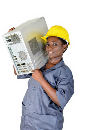 Young woman in computer maintenance loads a computer CPU on the shoulder Banque d'images - 111828834