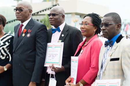 Abidjan, Ivory Coast - August 3, 2017: graduation ceremony and medal of honor at the different countries at the end of cycle ceremony of the students of the Navy