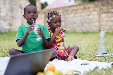 two happy children sitting at the park in front of a laptop and drinking juice Stockfoto
