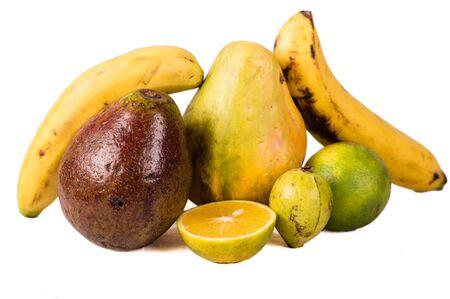 Pile of fruit mix isolated on white background. Stockfoto