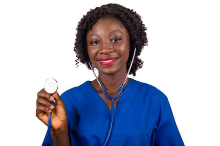 smiling nurse woman or doctor standing in studio, holding stethoscope and listening to lung beat isolated on white background