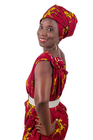 Beautiful african woman wearing traditional clothes, isolated on white background