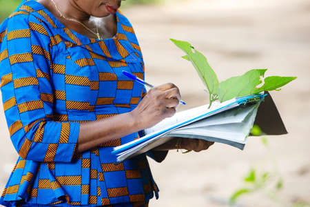 adult woman standing in nature and examining green leaf and taking notes in a notebook.