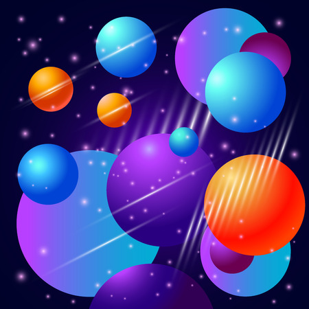 Abstract background beautiful bubbles planet and stars
