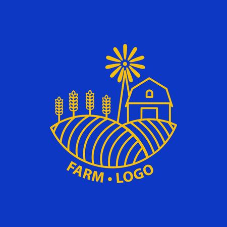 팜 하우스 개념 로고입니다. 팜 프리 템플릿입니다. 천연 농산물에 대한 라벨. 벡터 일러스트 레이 션. 일러스트