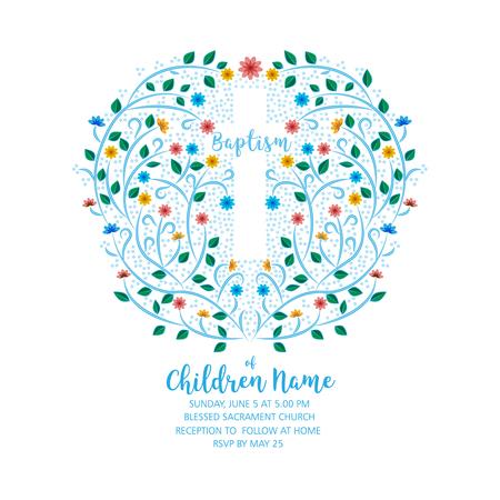 Doop, Doopsel Uitnodigen - Uitnodigingsjabloon Met Kruis En Bloemen, Bloemenkrans Stock Illustratie