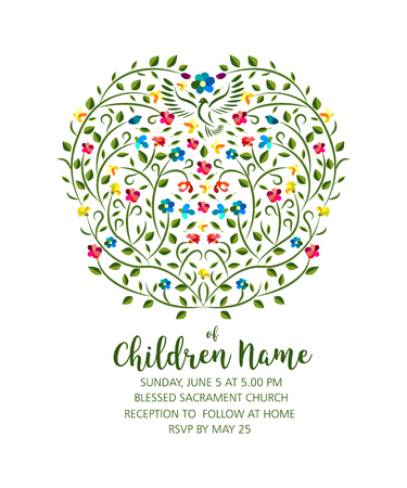 Christening Invite - Invitation Template with Pigeon and Flowers, christening girl and boy. Çizim