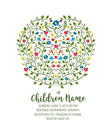 Doopsel uitnodigen - Uitnodigingsjabloon met duif en bloemen, doopdier en jongen.