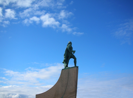 Leif Erikson statue silhouette in Reykjavik, Iceland. Ericsson was a Norse explorer from Iceland and the first known European to have discovered continental North America Stock Photo