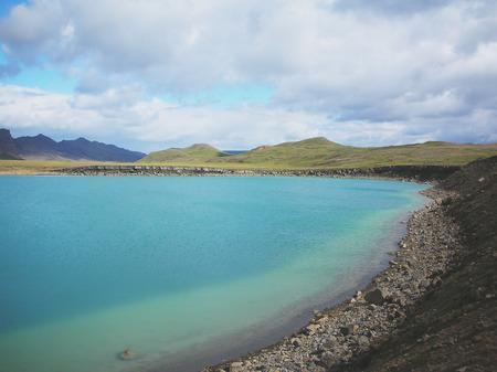 Volcano crater Viti with turquoise lake inside, Krafla volcanic area, Iceland Stock Photo