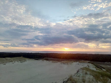 Grey dunes in the fall time. Curonian Spit, Lithuania. Stock Photo