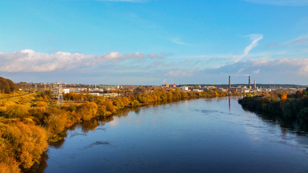 Industrial panorama of the river.