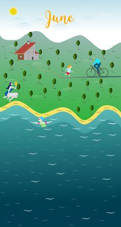 June Landscape in the lake vector illustration Ilustração