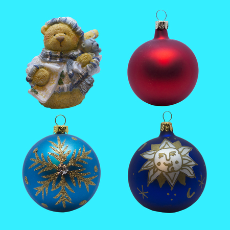 set of bright toys for Christmas tree and interior design