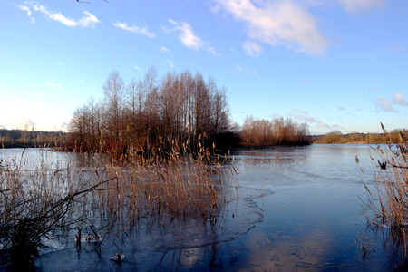 lake in winter. first ice
