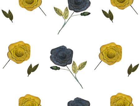 Wooden flowers on white. Imagens