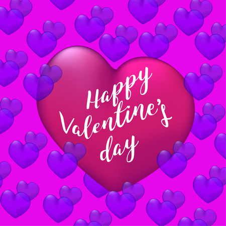Happy Valentines Day poster with gradient mesh, Vector illustration.