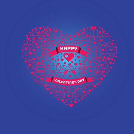 Greeting card for Happy Valentine s day. Love Poster. Ilustração