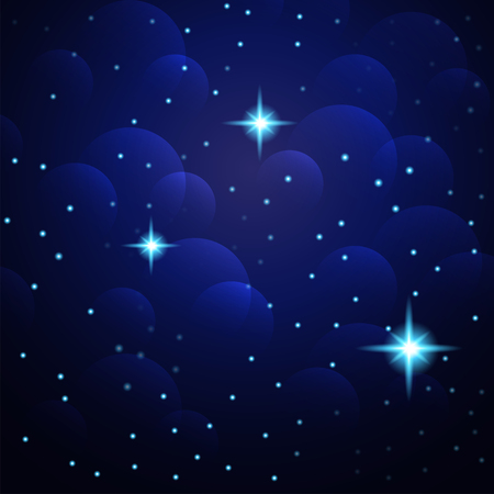 Blue Abstract background. Night sky with stars. Vector illustration