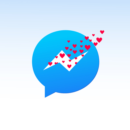 valentine day messenger. messenger with many hearts