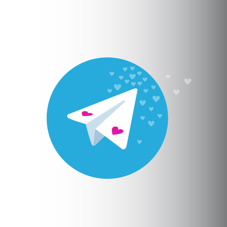 valentine day telegram messenger. messenger with many hearts